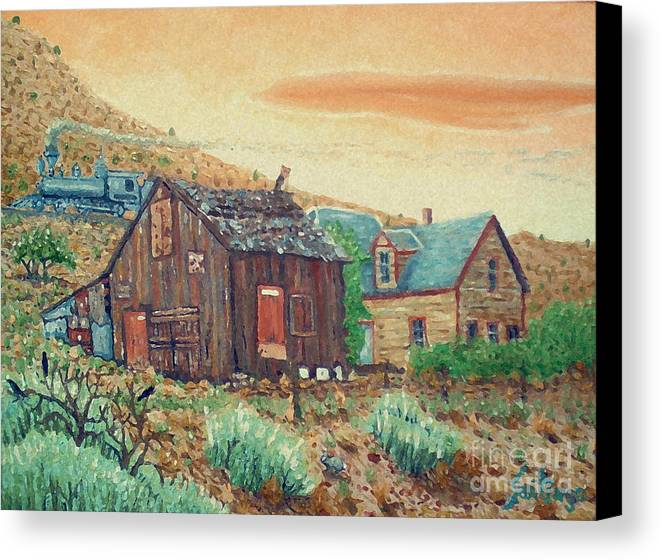 Southwest Canvas Print featuring the painting Ghost Train by Santiago Chavez