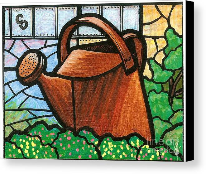 Gardening Canvas Print featuring the painting Giant Watering Can Staunton Landmark by Jim Harris