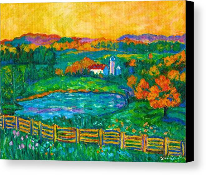 Landscape Canvas Print featuring the painting Golden Farm Scene Sketch by Kendall Kessler