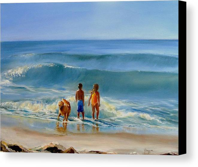 Seascape Canvas Print featuring the painting Golden Moment by Yvonne Dagger