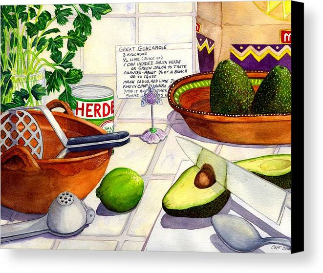 Guacamole Canvas Print featuring the painting Great Guac. by Catherine G McElroy