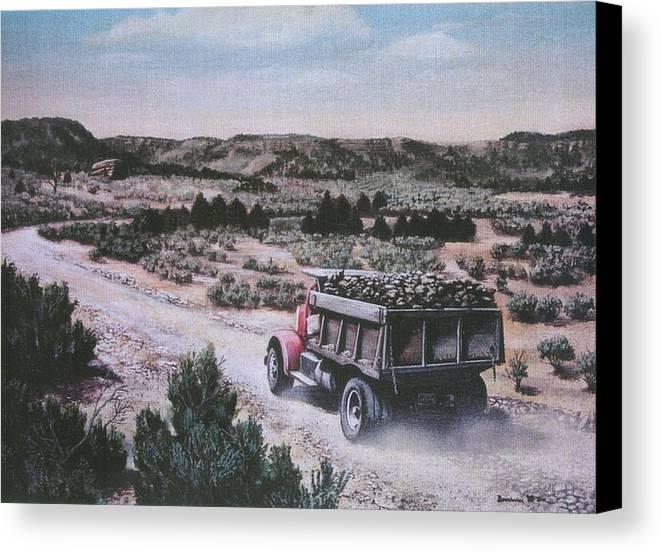 Colorado Canvas Print featuring the print Hauling Uranium Ore 1952 by Lee Bowerman