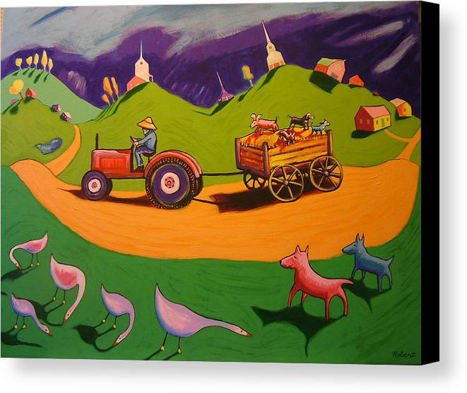 Farm Landscape With Dogs Canvas Print featuring the painting Hayride by Robert Tarr