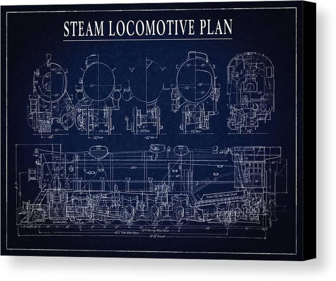 Heavy steam locomotive blueprint canvas print canvas art by locomotive canvas print featuring the digital art heavy steam locomotive blueprint by daniel hagerman malvernweather Images