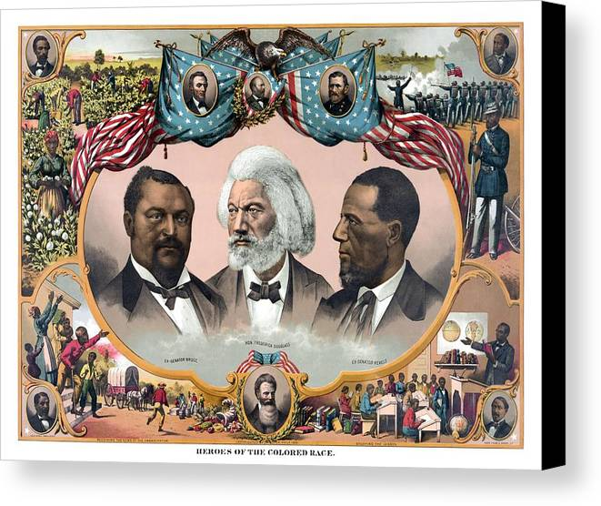 Black History Canvas Print featuring the painting Heroes Of The Colored Race by War Is Hell Store