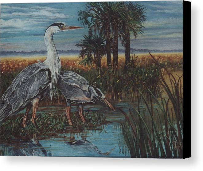 Herons Canvas Print featuring the painting Herons by Diann Baggett
