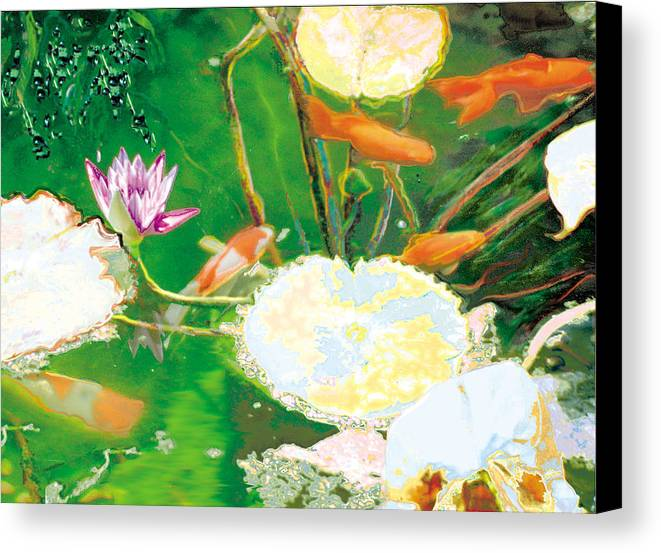 Koi Canvas Print featuring the photograph Hide And Seek Kio In The Green Pond by Judy Loper