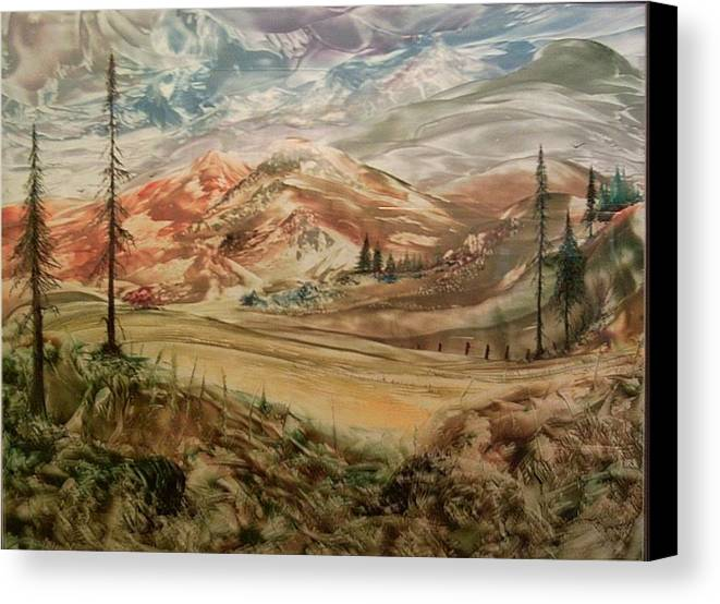 Landscape Canvas Print featuring the painting High Meadowland by John Vandebrooke