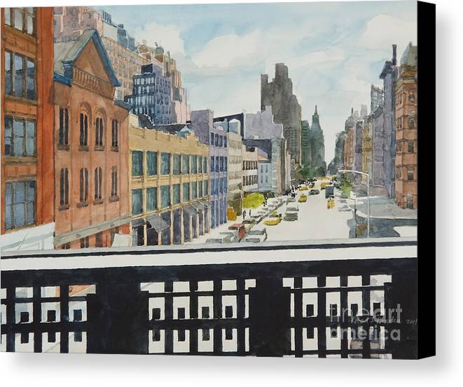 Urban Landscape Canvas Print featuring the painting Hiline View Looking East by Robert Bowden