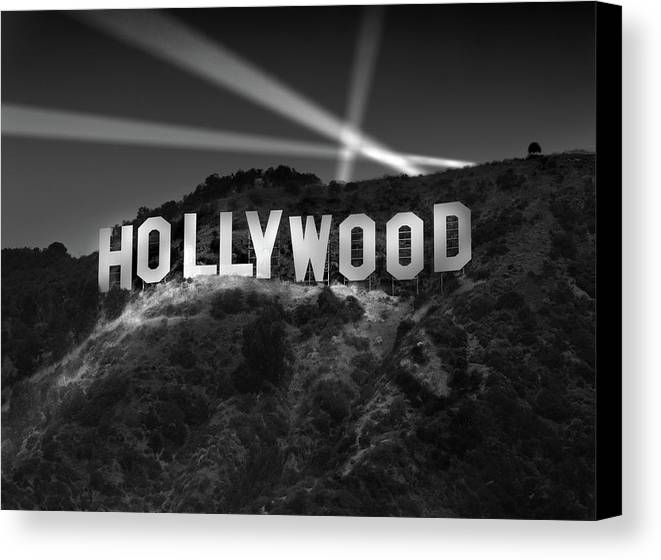 Hollywood Sign Canvas Print Featuring The Photograph At Night By Richard Lund