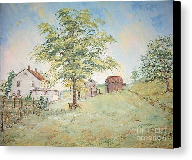 White House; 2 Sheds; Green Tree In Foreground; Set Of 4 Homeplace Prints For $100.00 Canvas Print featuring the painting Homeplace - The Farmhouse by Judith Espinoza