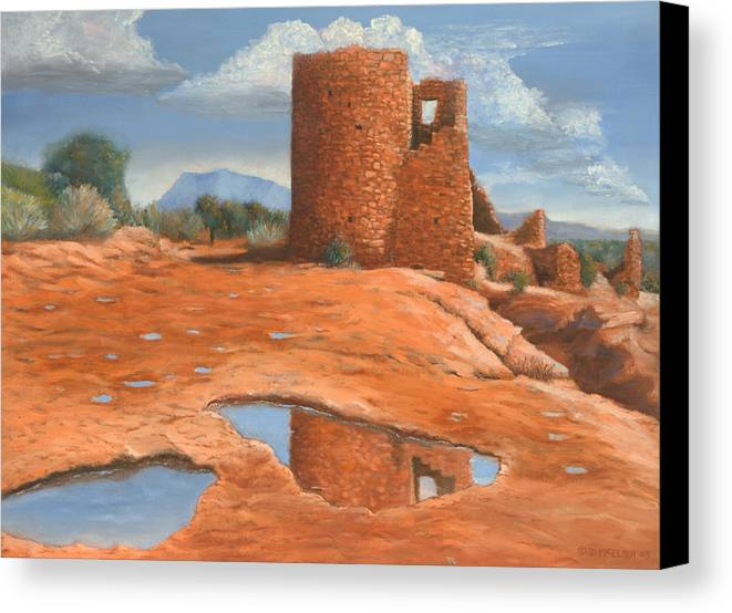 Anasazi Canvas Print featuring the painting Hovenweep Reflection by Jerry McElroy