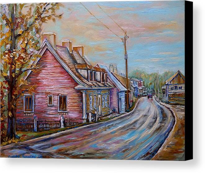 Ile D'orleans Canvas Print featuring the painting Iles D'orleans Quebec Village Scene by Carole Spandau