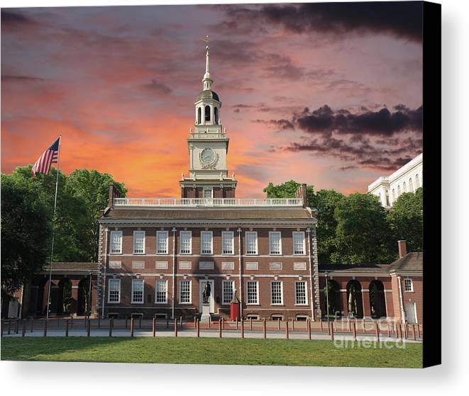 Independence Hall Canvas Print featuring the photograph Independence Hall Philadelphia Sunset by Trekkerimages Photography