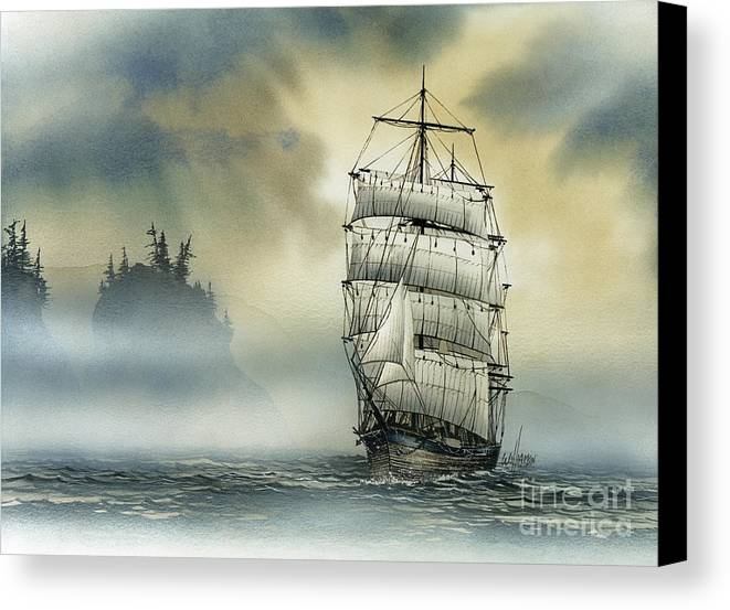 Tall Ship Print Canvas Print featuring the painting Island Mist by James Williamson