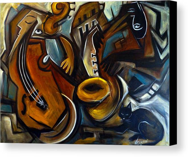Jazz Canvas Print featuring the painting Black Cat Jazzz by Valerie Vescovi