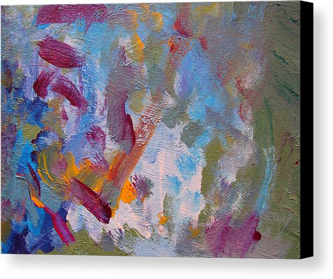 Abstract Canvas Print featuring the painting Just A Little Yellow by Kitty Hansen
