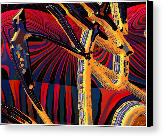 Digital Art; Abstract Art; Bryce 3-d Canvas Print featuring the digital art Kali-fa-callig10x11m8 by Terry Anderson