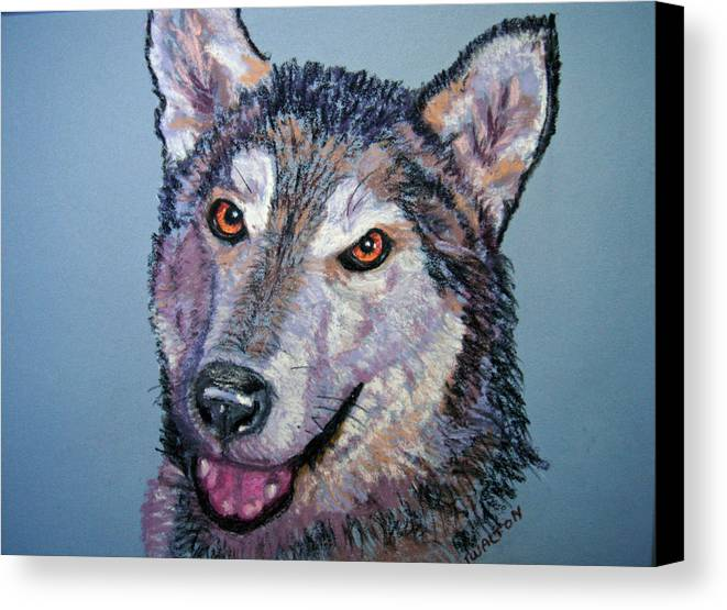 Alaskan Malamute Canvas Print featuring the painting King by Judy Fischer Walton