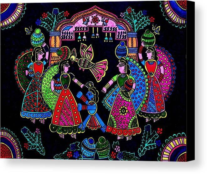 Madhubani Art Canvas Print featuring the painting Krishna by Bijna Balan