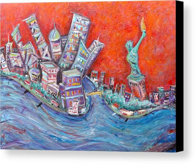 Statue Of Liberty New York City Wall Steet Manhattan Hudson River New Jersey State Park Ellis Island Canvas Print featuring the painting Lady Liberty by Jason Gluskin