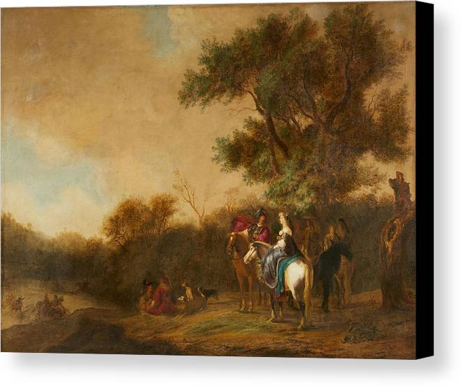 Gerrit Claesz. Bleker Canvas Print featuring the painting Landscape With Hunting Party by Gerrit Claesz