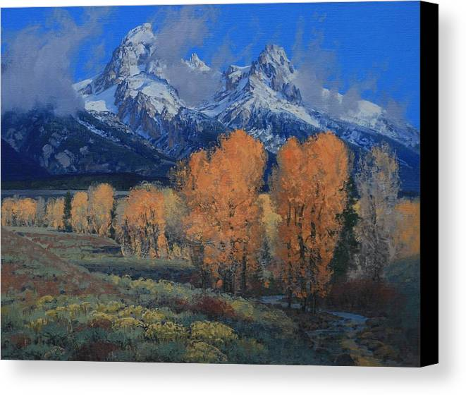 Landscape Canvas Print featuring the painting 'last Leaves' by Lanny Grant