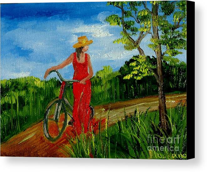 Girl Canvas Print featuring the painting Ledy With The Bike by Inna Montano