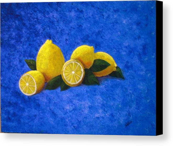 Yellow Canvas Print featuring the painting Lemons by Nancy Sisco