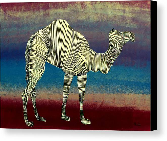 Camel Canvas Print featuring the painting Lib - 169 by Artist Singh