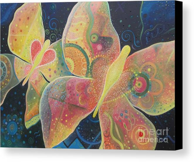 Butterfly Canvas Print featuring the painting Lighthearted by Helena Tiainen