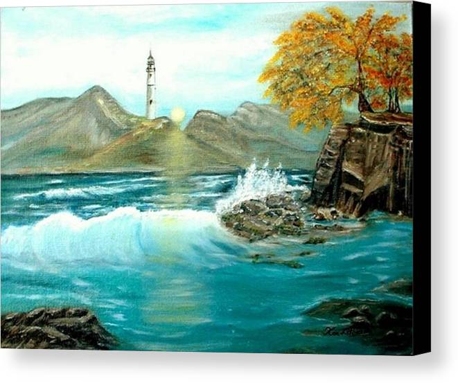 Lighthouse Ocean Painting Rocks Trees Canvas Print featuring the painting Lighthouse by Kenneth LePoidevin