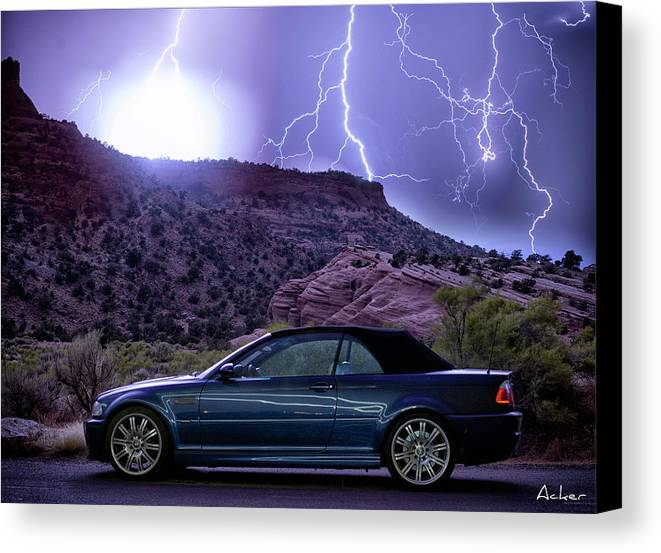 Bmw Canvas Print featuring the photograph Lightning Storm by Aaron Acker
