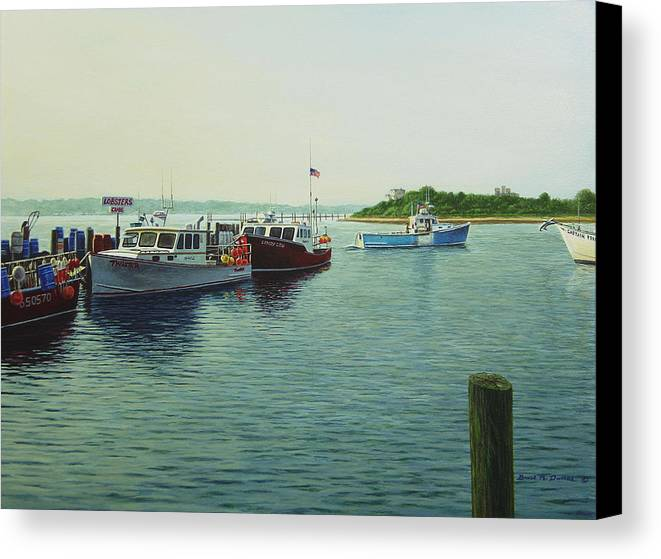 Marine Art Canvas Print featuring the painting Lobsters And Crabs by Bruce Dumas