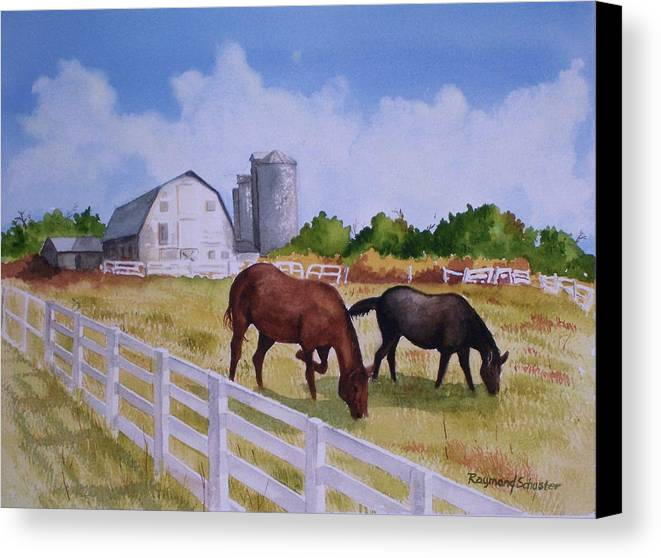 Landscape Canvas Print featuring the painting Loveland Farm by Raymond Schuster