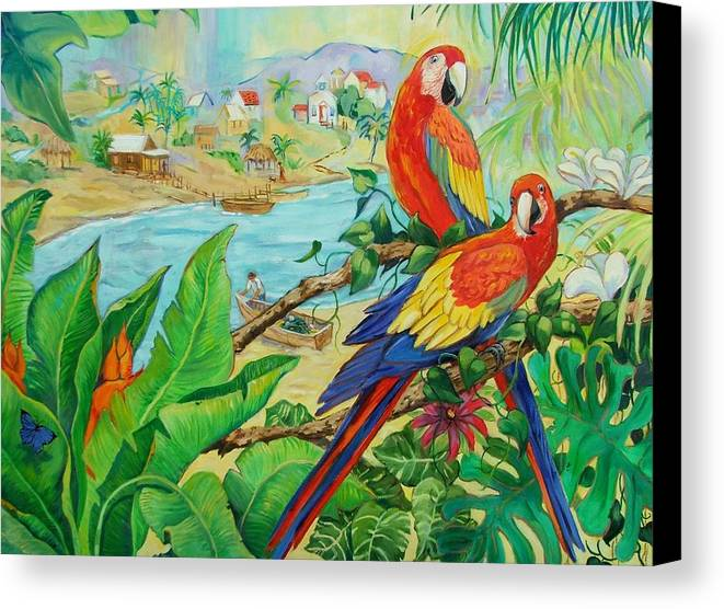 Birds Canvas Print featuring the painting Macaws by Dianna Willman
