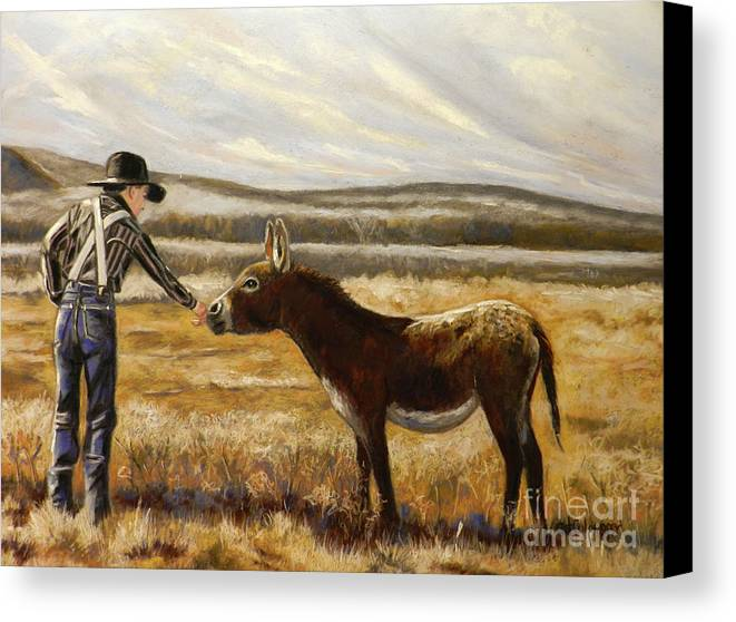Little Cowboy With Burro In A Pasture With Soft Hills And Sky Behind On A Fall Morning Canvas Print featuring the pastel Making Friends by Cat Culpepper