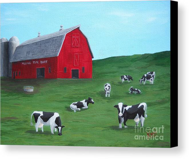Farm Canvas Print featuring the painting Milking Time Dairy by Kerri Ertman