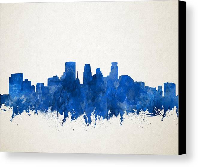 Minneapolis Painters: Minneapolis Skyline Watercolor Blue Canvas Print / Canvas Art By Bekim Art