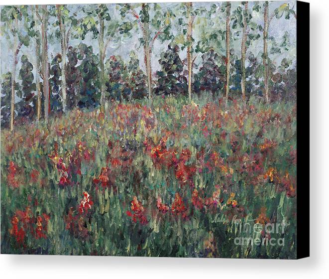 Landscape Canvas Print featuring the painting Minnesota Wildflowers by Nadine Rippelmeyer