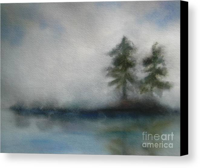 Landscape Canvas Print featuring the painting Misty Waters by Vivian Mosley
