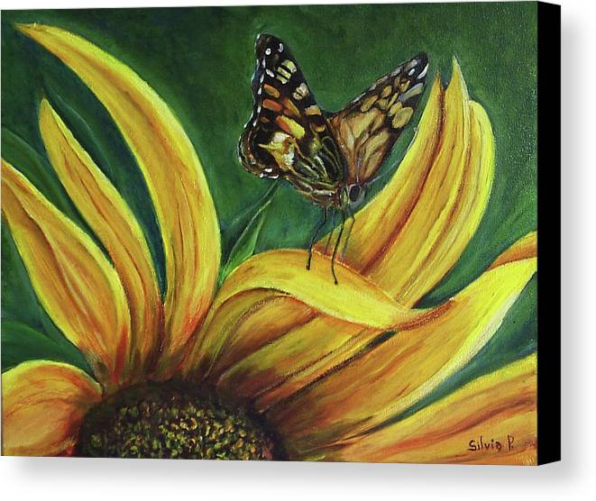 Butterfly Canvas Print featuring the painting Monarch Butterfly On A Sunflower by Silvia Philippsohn