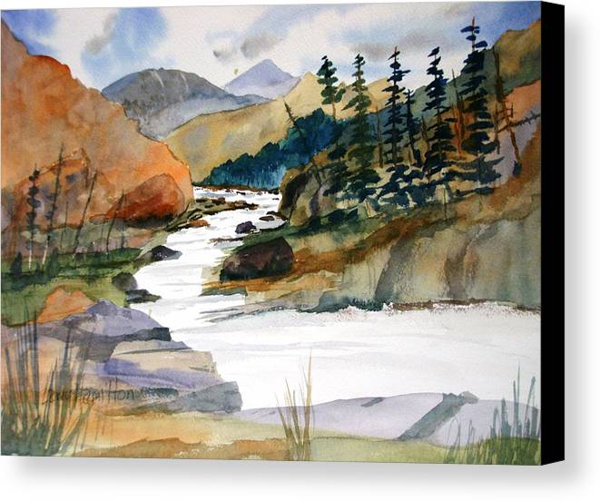 Watercolor Canvas Print featuring the painting Montana Canyon by Larry Hamilton