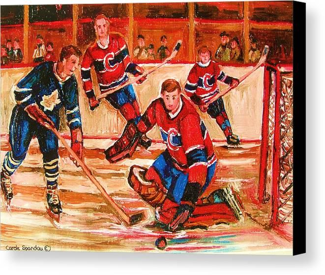 Montreal Forum Hockey Canvas Print featuring the painting Montreal Forum Hockey Game by Carole Spandau