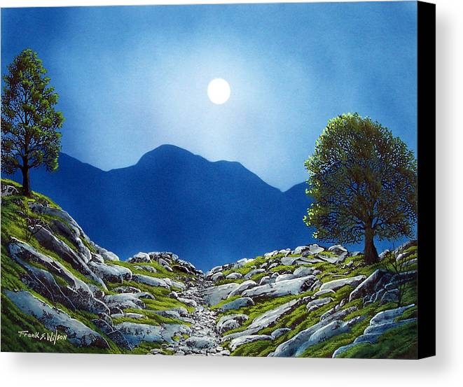 Landscape Canvas Print featuring the painting Moonrise by Frank Wilson