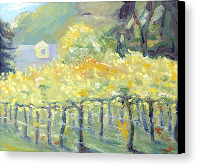 Napa Valley Vineyard Canvas Print featuring the painting Morning In Napa Valley by Barbara Anna Knauf