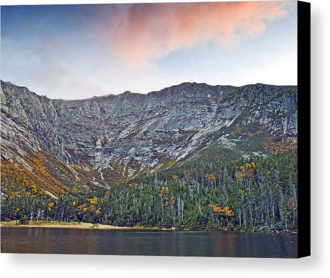 Katahdin Canvas Print featuring the photograph Mount Katahdin From Chimney Pond In Baxter State Park Maine by Brendan Reals
