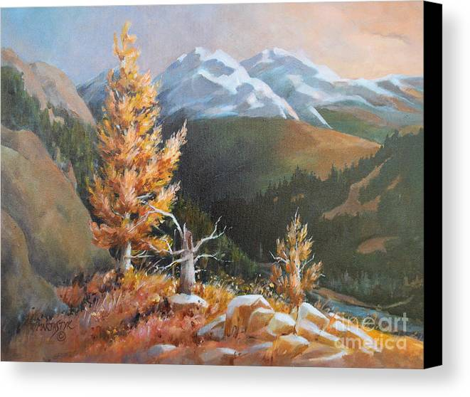 Landscape Canvas Print featuring the painting Mt. Rainier 5 by Marta Styk