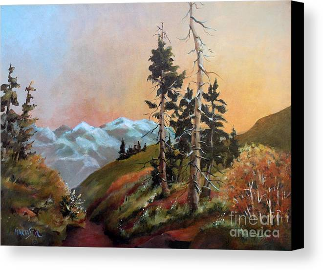 Landscape Canvas Print featuring the painting Mt. Rainier 6 by Marta Styk