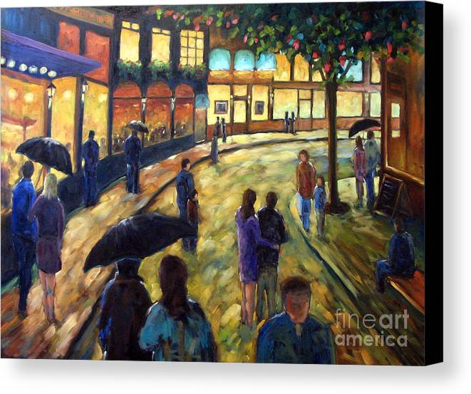 Cityscape Canvas Print featuring the painting Night On The Town by Richard T Pranke
